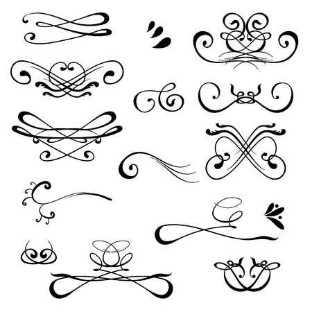 Vintage Calligraphic Design Elements. Set of Decors and Dividers. Old Vignette Collection Isolated on White Background. Decorative Ornamental Swirls. Stylized Flourishes Illustration