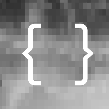 White Curly Bracket Icon on Grey Background
