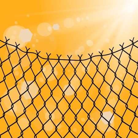 Sun and Wire Barb on Yellow Background. Freedom Concept. Peace Day.