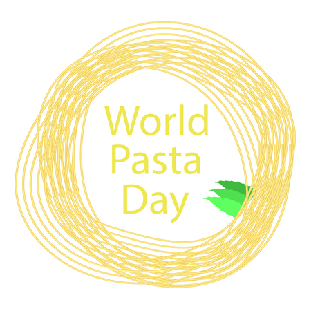 Noodles Circle Frame. Italian Spaghetti or Boiled Pasta. World Pasta Day Иллюстрация