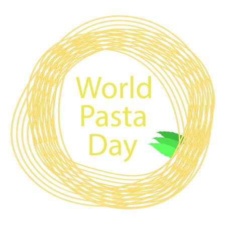 Noodles Circle Frame. Italian Spaghetti or Boiled Pasta. World Pasta Day Illustration