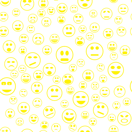 Yellow Smile Seamless Pattern. Set of Web Icons