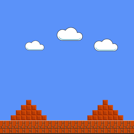 Old Game Background. Classic Retro Arcade Design with Clouds and Brick Vettoriali