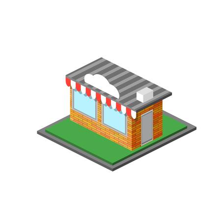 Isometric Shop Stope Icon Isolated on White Background