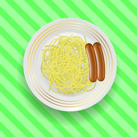 Realistic Boiled Sausages with Spaghetti on Green Line Background