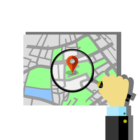 Red Marker Pointer with Paper Road Map. GPS Navigator Location Icon.