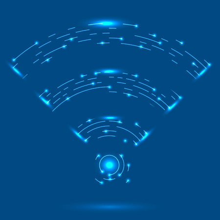 GPRS, Radio Wave Icon. Wireless Network Symbol Isolated on Blue Background. Mobile Conceptual Emblem