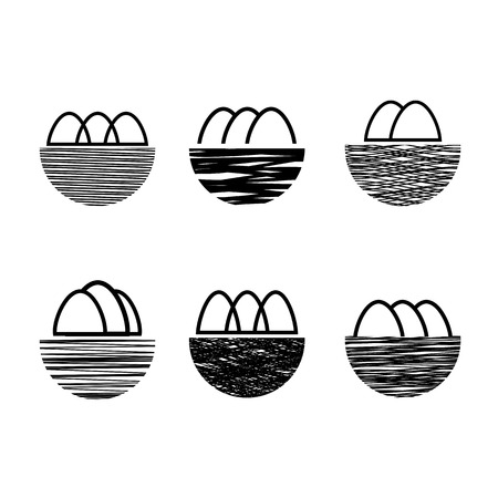 Nest and Eggs Icon Isolated on White Background