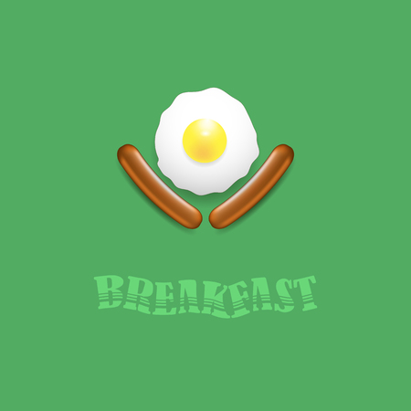 Breakfast Icon with Natural Egg and Two Realistic Boiled Sausages Isolated on Green Background