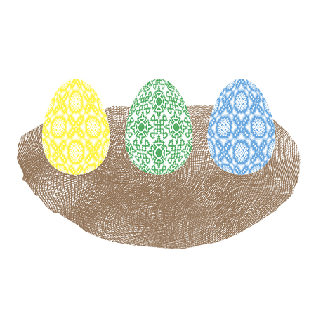 Easter Colored Eggs and Nest Icon Isolated on White Background