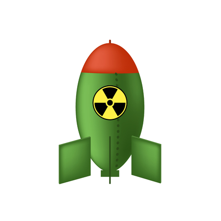 Green Atomic Bomb with Radiation Sign Isolated on White Background. Nuclear Rocket.