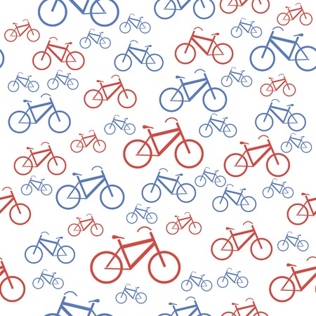 Red Blue Bicycle Silhouette Seamless Pattern on White Background