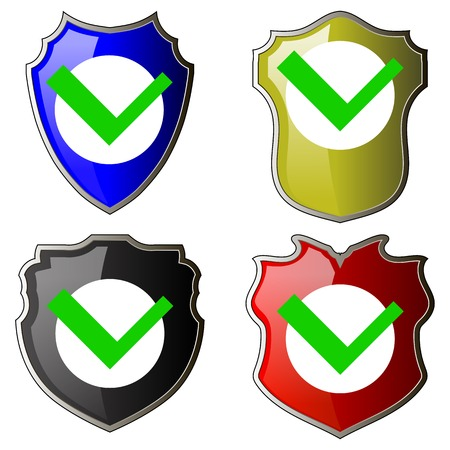 Security Check Icon, Shield, Protect Sign Isolated on White Background. Mark Approved, Guard Symbol, System Privacy Set