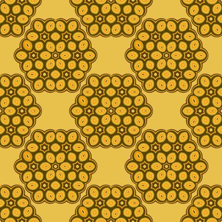 Yellow Ornamental Mosaic Background. Geometric Seamless Pattern Ilustrace