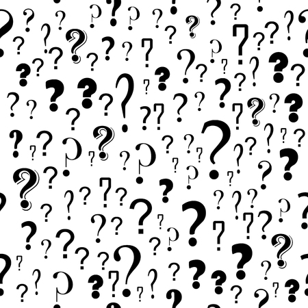 Question Mark Seamless Pattern on White Background. Simple icon for websites, web design, mobile app, info graphics