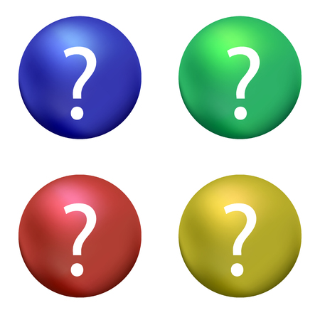 Question Mark with Blue Red Green Yellow Ball on White Background. Simple Icon for web Sites, Web Design, Mobile App, Info Graphics Ilustração