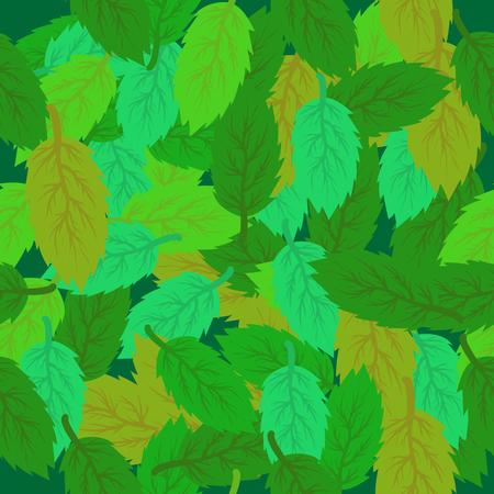 Spring Leaves Seamless Background. Set of Green Fresh Leaves