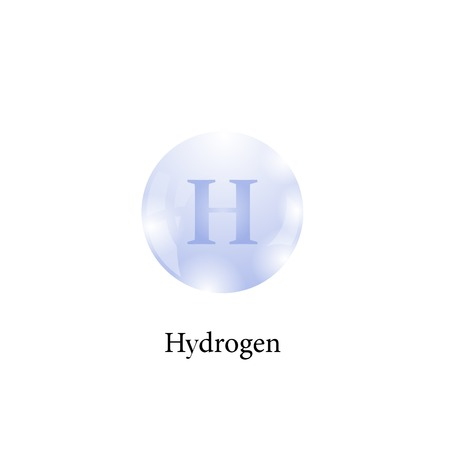 Molecule of Hydrogen Isolated on White Background. Chemical Element of the Periodic Table. Vectores
