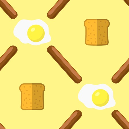 Eggs, Grill Sausages and Bread Seamless Pattern Isolated on Yellow Background. Fast Food Texture.