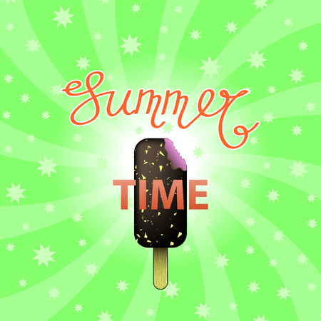 Lettering Summer Time Text with Ice Cream on Green Swirl Starry Backgground. Hand Sketched Summer Typography Sign for Badge, Icon, Banner, Tag, Illustration, Postcard Poster