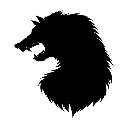 Silhouette of Werewolf Head Isolated on White Background. Fairtale Character of Ancient Mythology. Fictional Animal.