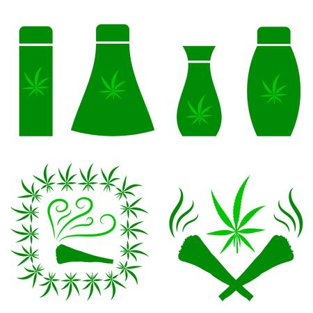 Green Cannabis Leaves Frame. Drug Consumption, Medical Marijuana Use. Burning Joint Icon Isolated on White Background