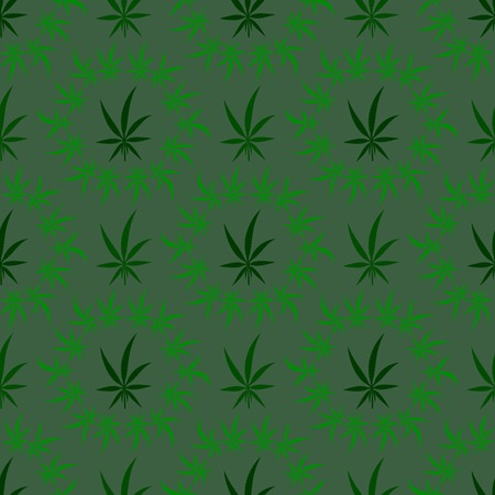 Green Cannabis Leaves Background. Green Medical Marijuana Seamless Pattern