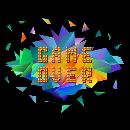 Retro Pixel Game Over on Colorful Polygonal Banner. Gaming Concept. Colored Explosion with Parts. Video Game Screen. Иллюстрация