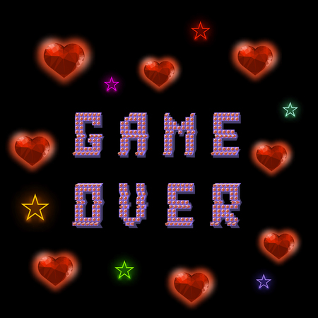 Retro Pixel Game Over Sign with Hearts and Stars on Black Backround. Gaming Concept. Colored Glitch Design. Video Game Screen.