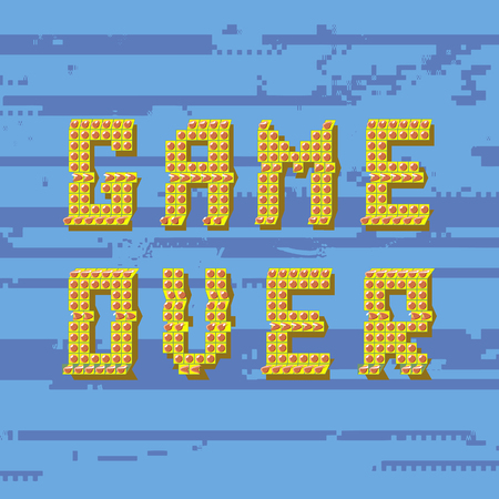 Retro Pixel Game Over Sin on Glitch Blue Banner. Gaming Concept. Video Game Screen.