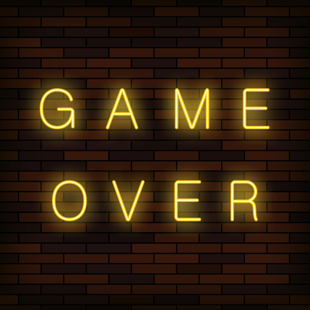 Retro Glass Neon Game Over Sign on Solid Red Brick Wall Background. Gaming Concept. Video Game Screen.
