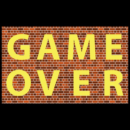 Retro Pixel Game Over Sign on Brick Background. Gaming Concept. Video Game Screen.