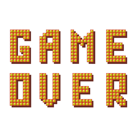Retro Pixel Game Over Sign on White Background. Gaming Concept. Video Game Screen.