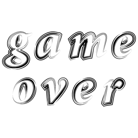 Ink Grunge Game Over Sign on White Background. Gaming Concept. Video Game Screen. Typography Design Poster with Lettering Иллюстрация
