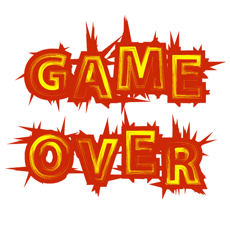 Red Yellow Game Over Sign on White Background. Gaming Concept. Video Game Screen. Typography Design Poster with Lettering