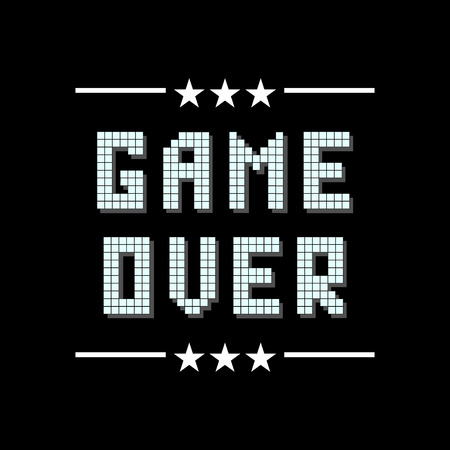 Retro Pixel Game Over Sign with Stars on Black Background. Gaming Concept. Video Game Screen.