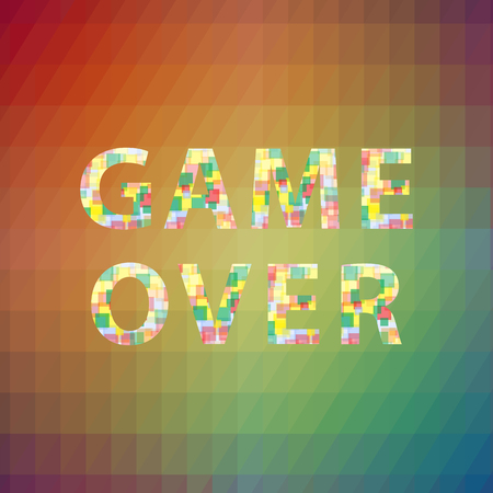 Game Over Colorful Sign on Square Polygonal Background. Gaming Concept. Video Game Screen.