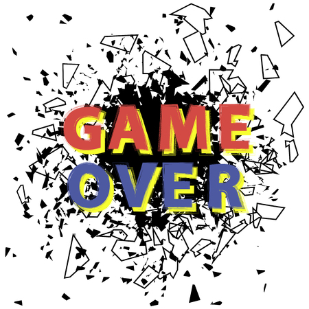 Retro Game Over Sign with Explosion on White Background. Gaming Concept. Video Game Screen.