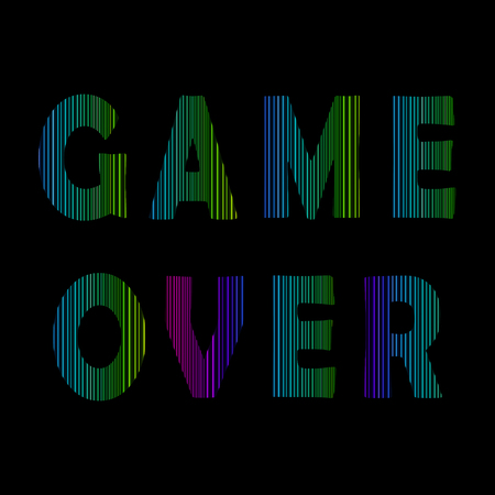 Retro Game Over Neon Sign on Black Background. Gaming Concept. Video Game Screen.