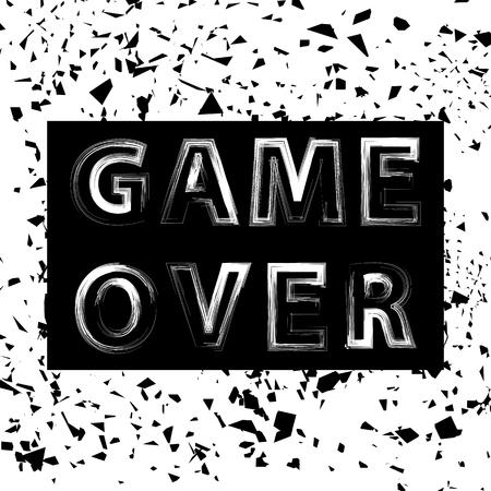 Grunge Game Over Sign. Concepto de juego. Pantalla de videojuegos. Cartel de diseño de tipografía con letras