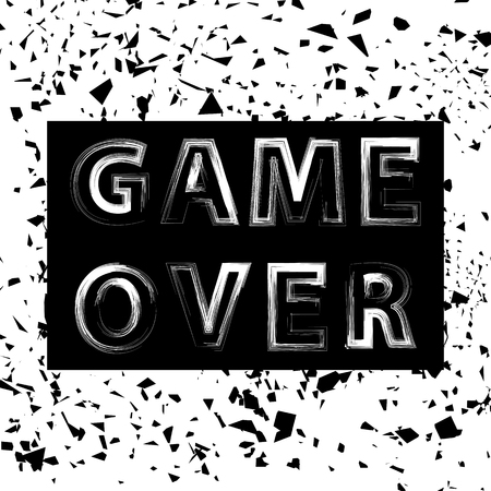 Grunge Game Over Sign. Gaming Concept. Video Game Screen. Typography Design Poster with Lettering