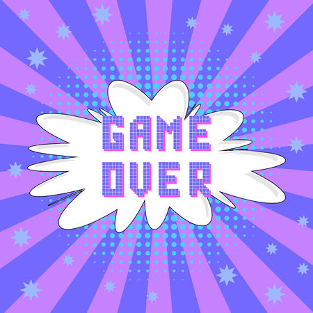 Retro Pixel Game Over Sign on Colored Background. Gaming Concept. Video Game Screen. Иллюстрация