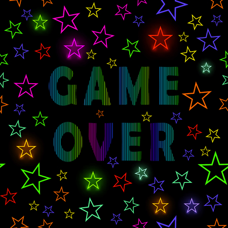Retro Game Over Neon Sign on Starry Black Background. Gaming Concept. Video Game Screen. Иллюстрация
