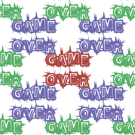 Red Blue Green Game Over Sign Seamless Pattern on White Background. Gaming Concept. Video Game Screen. Typography Design Poster with Lettering