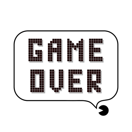 Retro Pixel Game Over Sign with Speech Bubble on White Background. Gaming Concept. Video Game Screen.