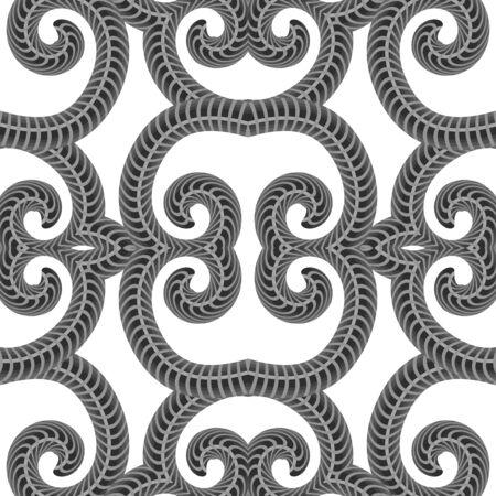 Grey Ornamental Seamless Line Pattern. Endless Texture. Oriental Geometric Ornament