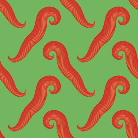 Animal Earth Red Worms for Fishing Seamless Pattern on Green Background.