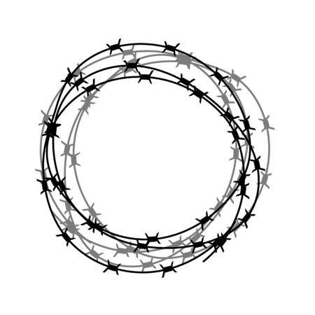 Barbed Wire Circle Isolated on White Backgground. Stylized Prison Concept. Symbol of Not Freedom. Metal Frame Circle. 向量圖像