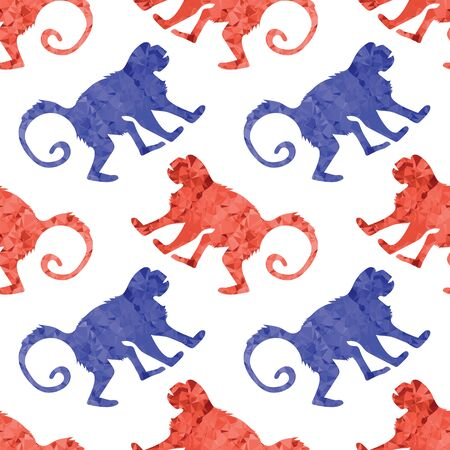 Red Blue Monkey Seamless Pattern Isolated on White Background. Wild Tropical Mammal Animal Ape Icon. Symbol of Zodiac. Low Poly Design. Gorilla Polygonal Silhouette. Banque d'images - 128526340