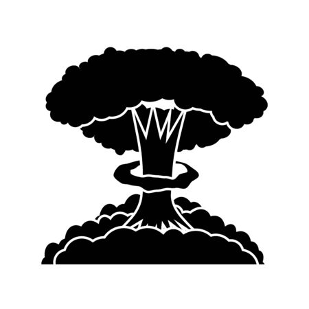 Nuclear Burst. Cartoon Bomb Explosion Isolated on White Background. Radioactive Atomic Power. Symbol of War. Big Mushroom Cloud.